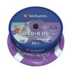 Verbatim DVD+R DL 8.5GB Inkjet Printable 25pk